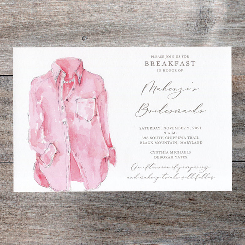 Pink Oxford Shirt Bridesmaid Luncheon Invitations
