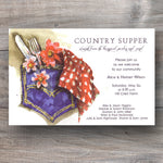 country supper invitations with a jean pocket filled with flatware, flowers and gingham napkin