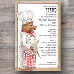 pig roast bbq party invitations with pig dresses as a chef