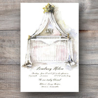 gender neutral baby shower invitations with bassinet and white canopy