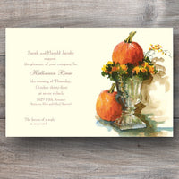 autumn invitations with a pair of pumpkins nestled on urn with mums