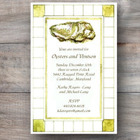 oyster roast invitation with oyster and geometric patterned border