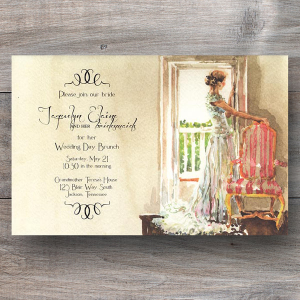 bridal shower invitations with bride taking a moment to reflect