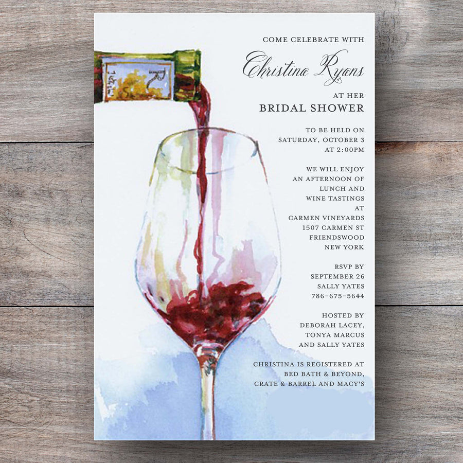 wine party invitations with red wine being poured into a wine glass