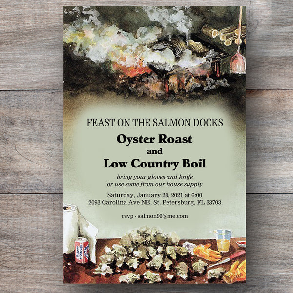 oyster roast invitations with clusters of oyster shells and hot coals