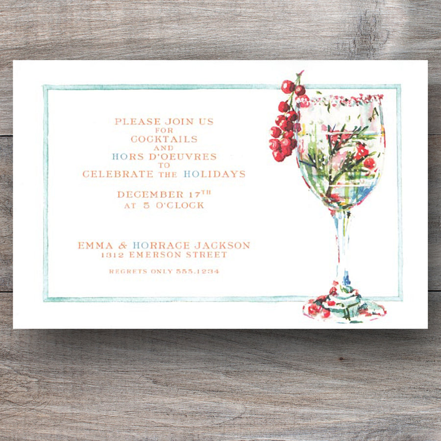 Christmas cocktail party invitations with rosemary currant spritzer
