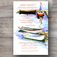 nautical invitations with row boats tied at dock