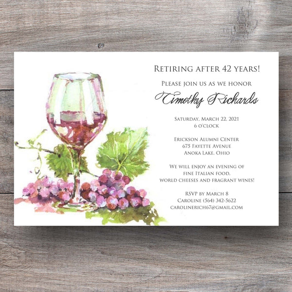 wine party invitation with glass of red wine and grape vines