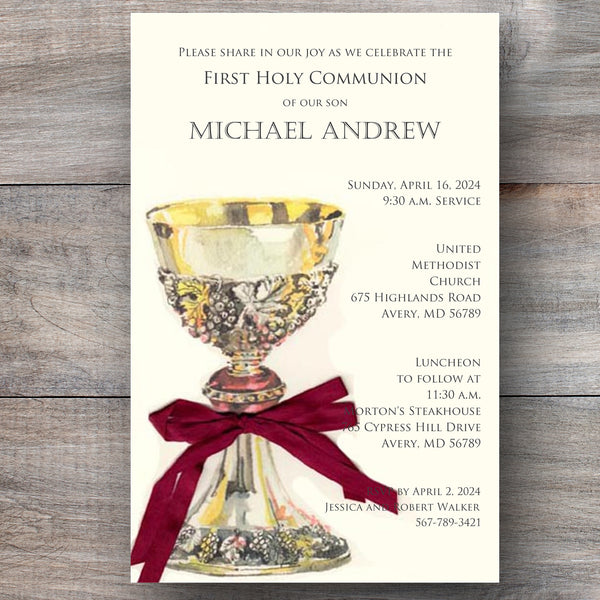 Sacred Chalice First Holy Communion Invitations