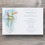 communion invitations with white cross and pretty Lily flowers