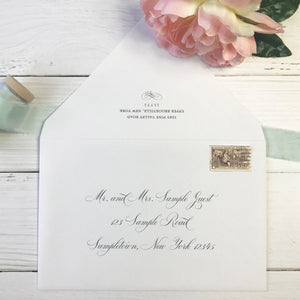 beach wedding invitations outer envelope with guest address