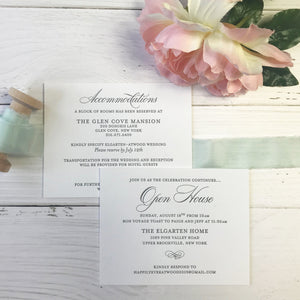 beach wedding invitation suite accommodation and open house card