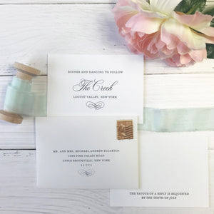 beach letterpress wedding invitations response and reception card