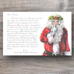 Christmas party invitations with santa claus telling a secret