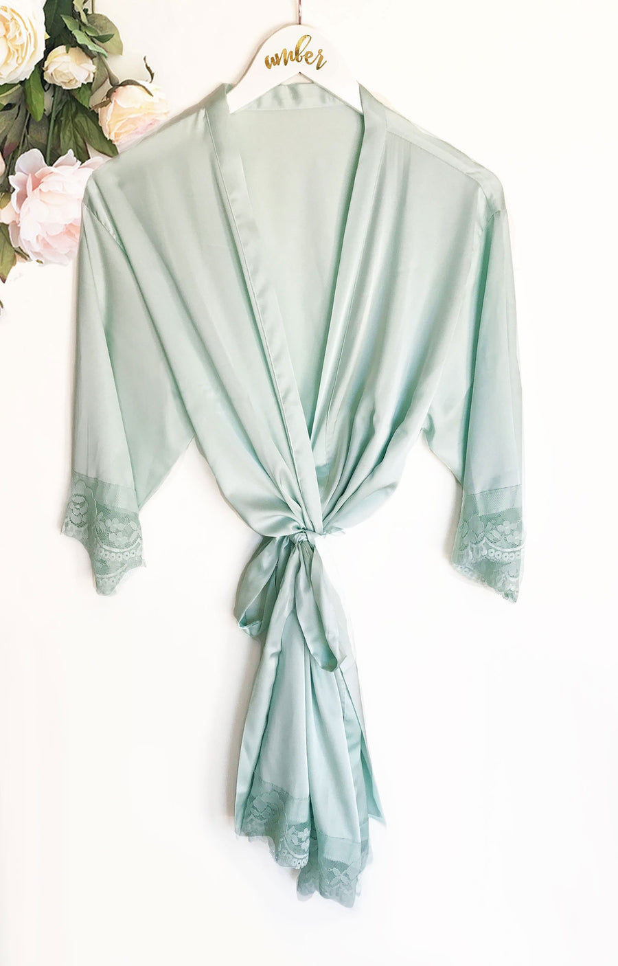 Satin Lace Robe Bridal Party Gift Blush