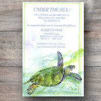 ocean inspired invitations with sea turtle