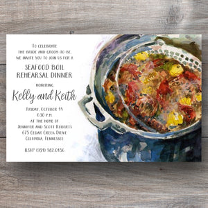 seafood boil invitations with pot of boiling lobster, shrimp and corn