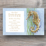 beach wedding invitation with seahorse and seaweed