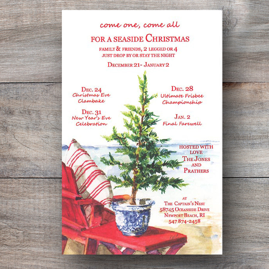 tropical holiday party invitations with red Adirondack chair on beach