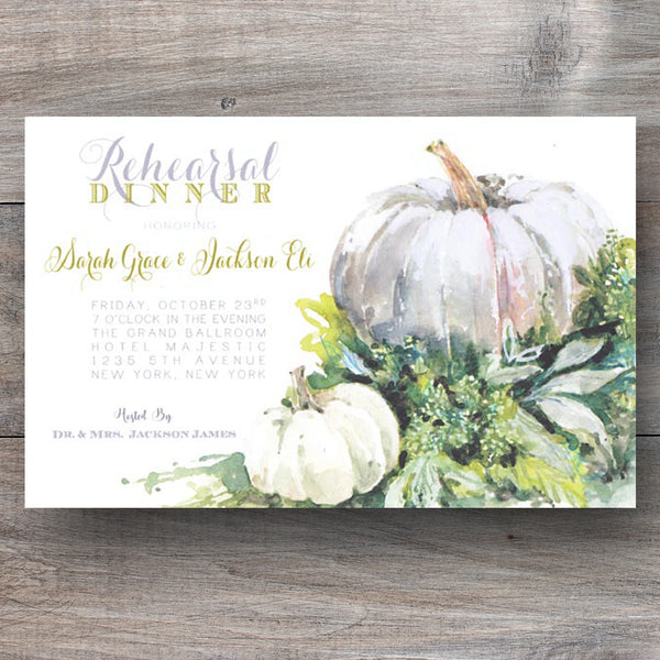 Autumn themed invitations with white pumpkins and rustic greens