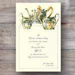 bridal shower tea invitations with a Sheffield Plate tea set
