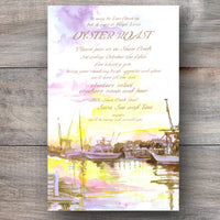 seafood party invitations with boats docked on a creek during sunset