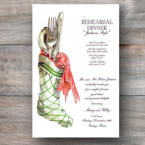 Christmas dinner invitations with holiday stocking and silverware