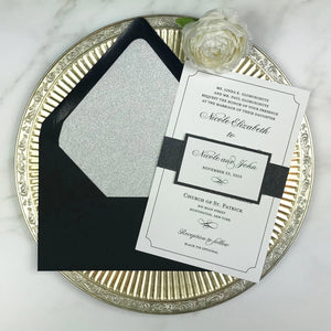 thermography wedding invitation with black and silver glitter