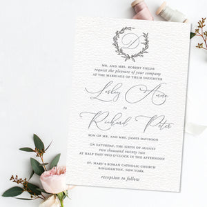 Sketched Wreath Letterpress Wedding Invitation