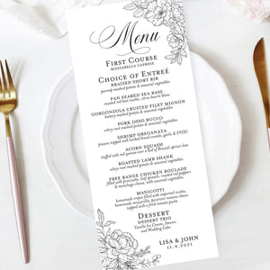 wedding reception menu sketched roses