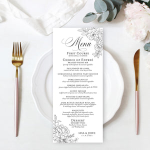 wedding reception menus sketched roses main image