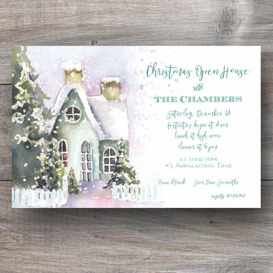 Open House Christmas Invitations with charming house covered in snow