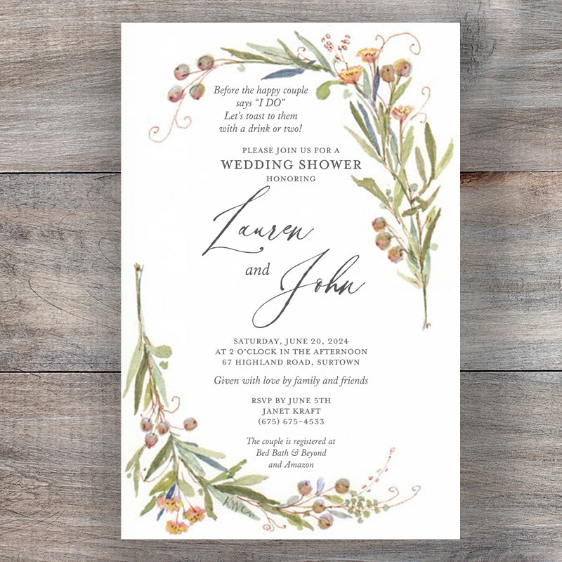 Soft Sages Bridal Wedding Shower Invitations