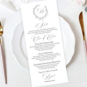 Hand Sketched Wreath Wedding Reception Menu Insert Image