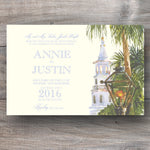 rehearsal dinner invitations with white church steeple and palm trees