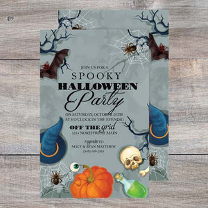 spooky Hallowen party invitation with spiders, bats, potions and skulls