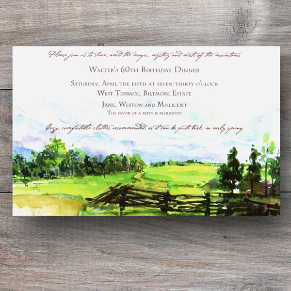 mountain invitations with hills, tree and split rail fence