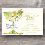 Margarita party invitations with painted margarita glass embellished with rhinestones