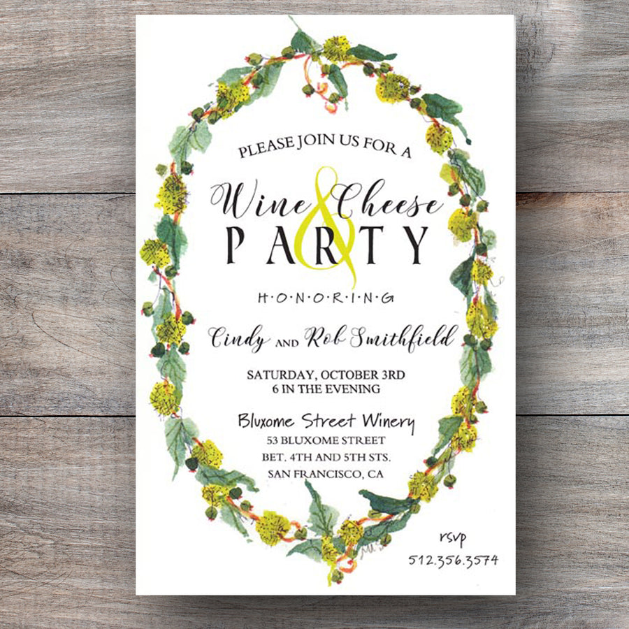 nature themed invitation with wreath crafted of sycamore seeds and leaves