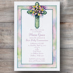 First Holy Communion invitations with water color cross adorned with spring flowers