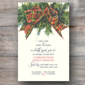 Christmas party invitations with a red tartan bow