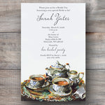 tea party invitation with silver tray and tea set