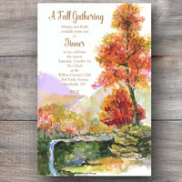 autumn themed invitations with trees bursting with colored leaves