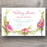 bridal shower invitations with crest of blooming flowers