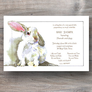 spring Easter invitations with white bunny