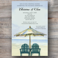 beach wedding invitations with two Adirondack chairs and beach umbrella