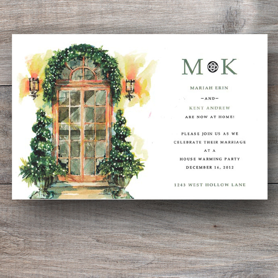Christmas open house invitations with two urns and holiday decor