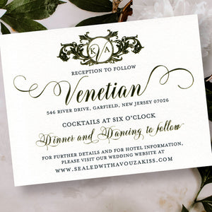 Wedding Reception Card Gold Foil Close Up
