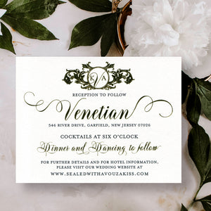 Wedding Reception Card Gold Foil