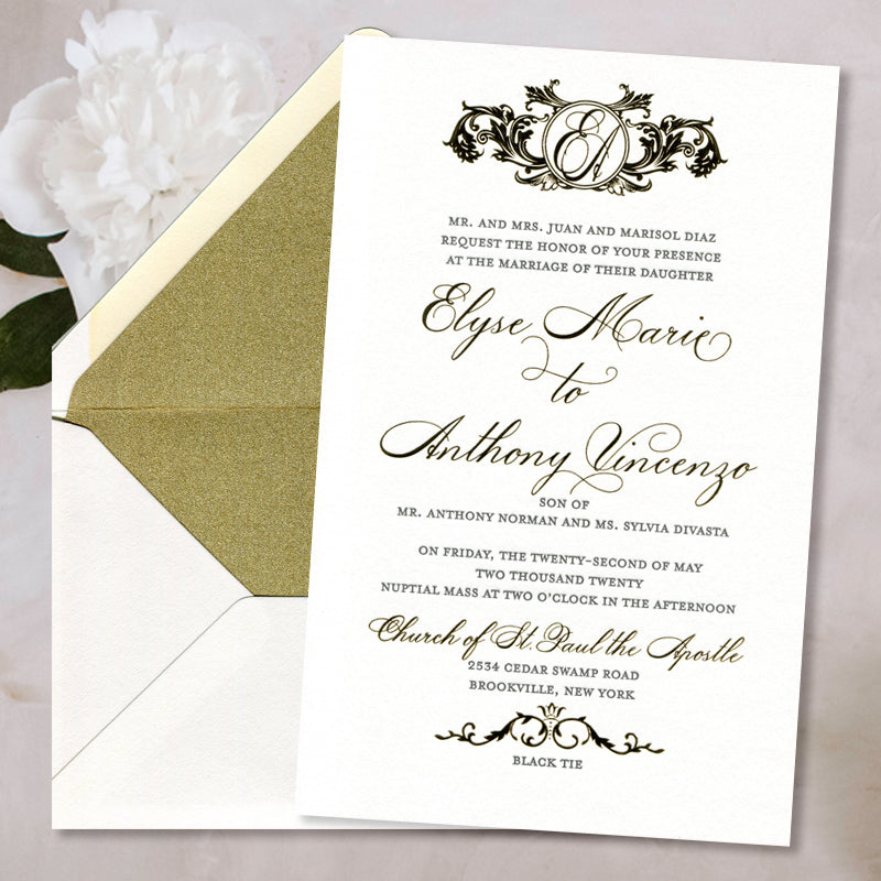Vintage Baroque Letterpress + Foil Wedding Invitations
